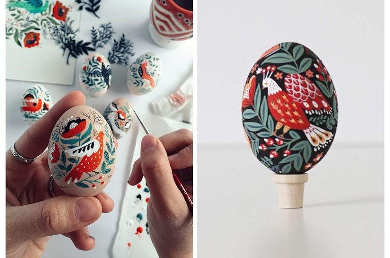 Динара Мирталипова раскрасила яйца в стиле фолк