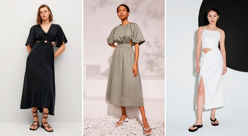 Тренды платьев 2021, платье с разрезами