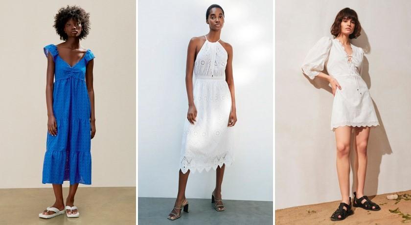 Тренды платьев 2021, ажурное платье, платье с шитьем