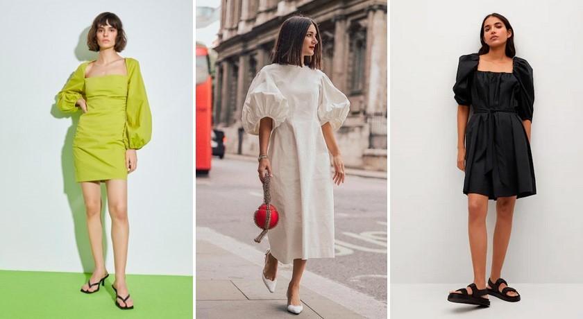Тренды платьев 2021, платье с воланами, объемное платье